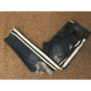 American Bazi High Rise Distress Side Striped Jean